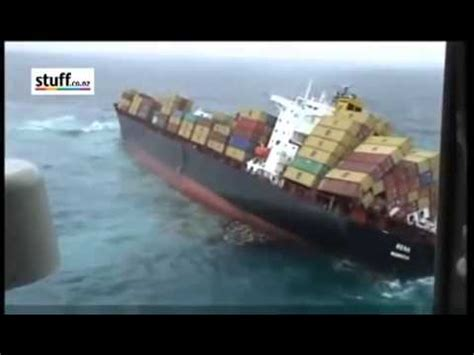 Container Ship Rena sinking - Dramatic Footag - YouTube