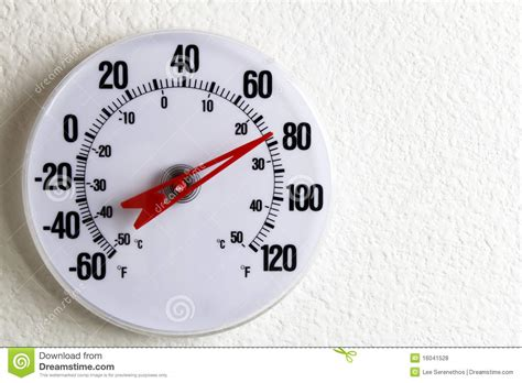 Round Thermometer On A Wall Stock Photo - Image of inside