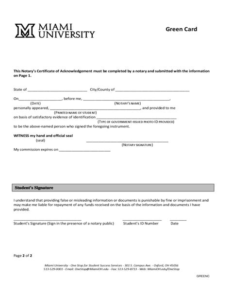 Green Card Form - Miami University Free Download