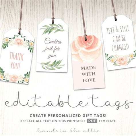 Printable baby shower labels, editable gift tags, bridal